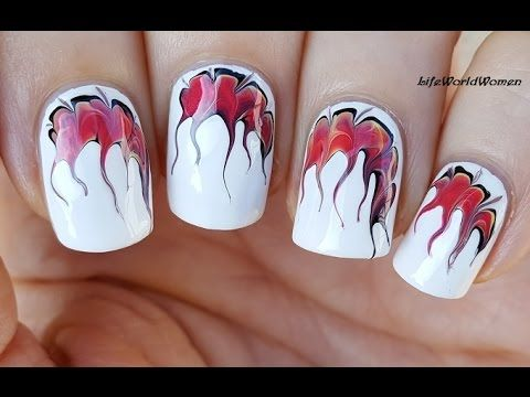 Toothpick Nail Art 15 Fire Inspired Marble Nails Youtube Nail