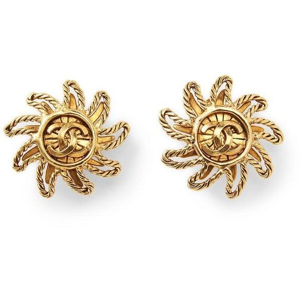 Luxe Vintage Finds Chanel Rope Sun CC Earring ❤ liked on Polyvore featuring jewelry, earrings, accessories, gold, vintage earrings, vintage jewellery, rope jewelry, vintage jewelry and rope earrings