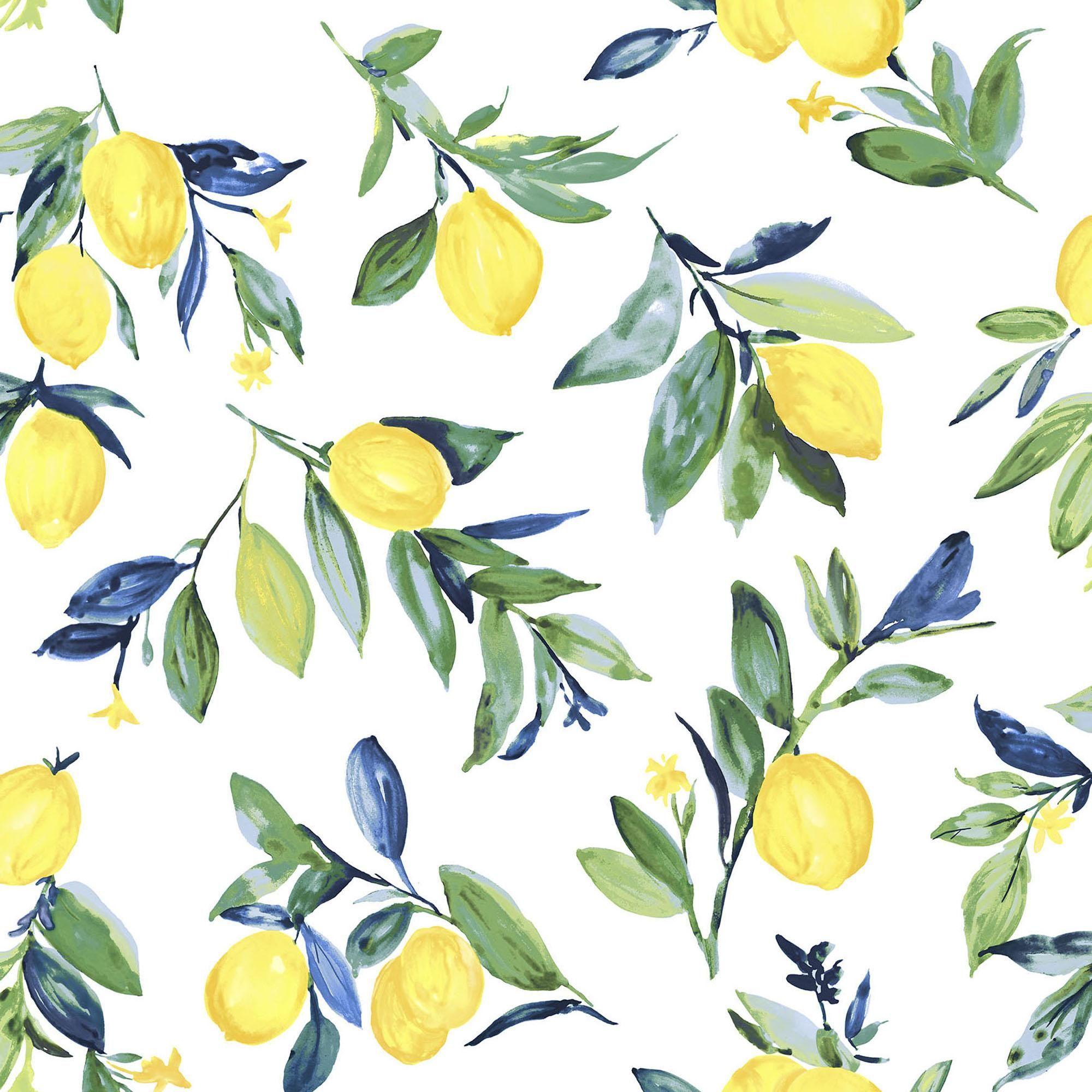 Nuwallpaper Lemon Drop Self Adhesive Wallpaper Brewster Wallpaper Peel And Stick Wallpaper Fruit Wallpaper