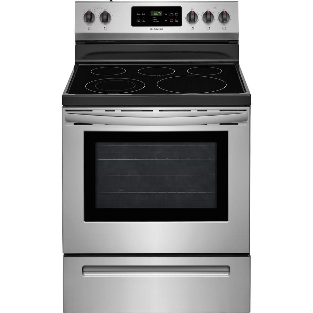 Frigidaire 30 In 5 3 Cu Ft Electric Range With Self Cleaning