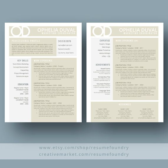 Creative Resume Template The Ophelia  Resume