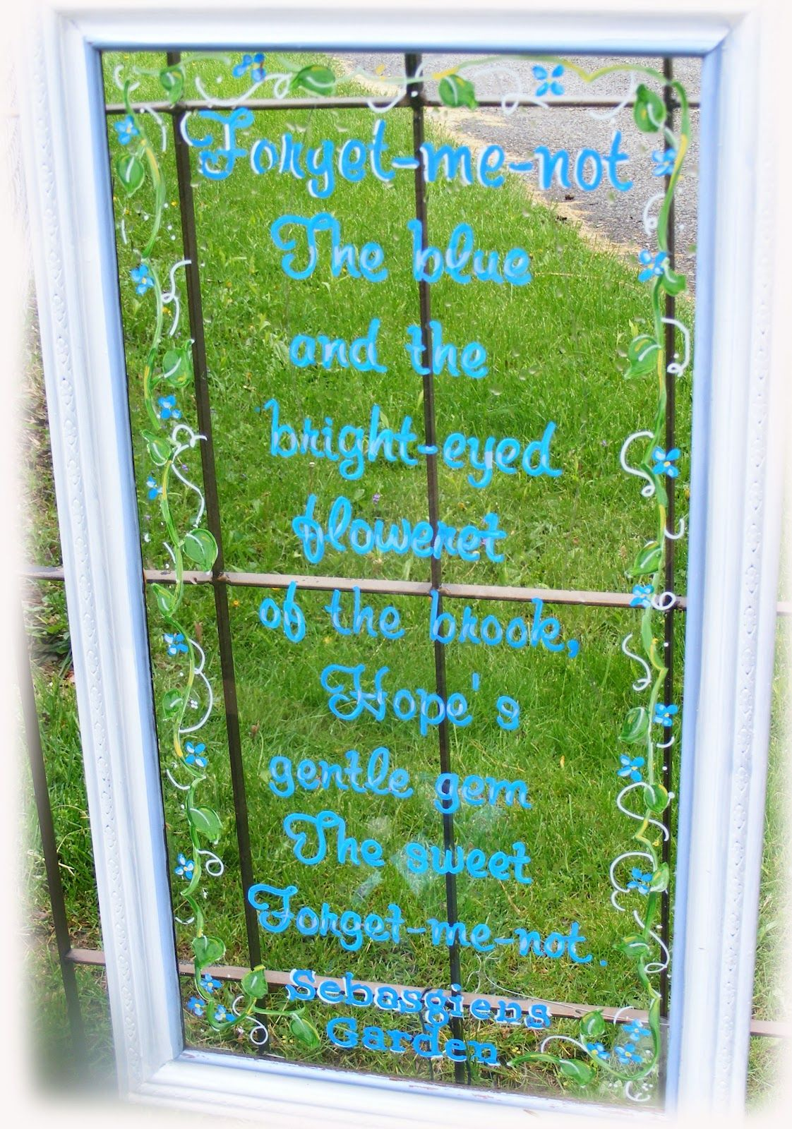 Garden decor craft ideas  Window Art Garden Saying  Reduce reuse recycle  Pinterest