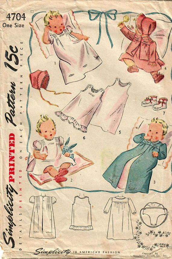 1940s Simplicity 4704 Vintage Sewing Pattern Infant Layette ...