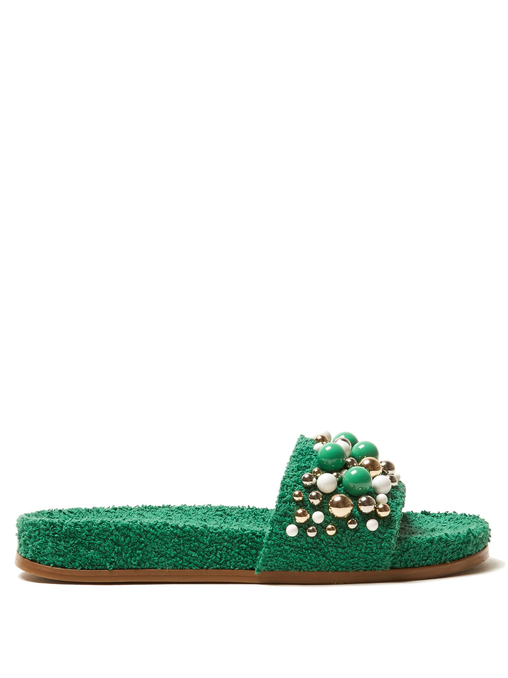Aquazzura Bon Bon embellished terry-towelling slides Cheap Pictures Cheap Sale Great Deals Free Shipping Pay With Visa Cheap Sale Store Low Shipping Fee geq2DpF