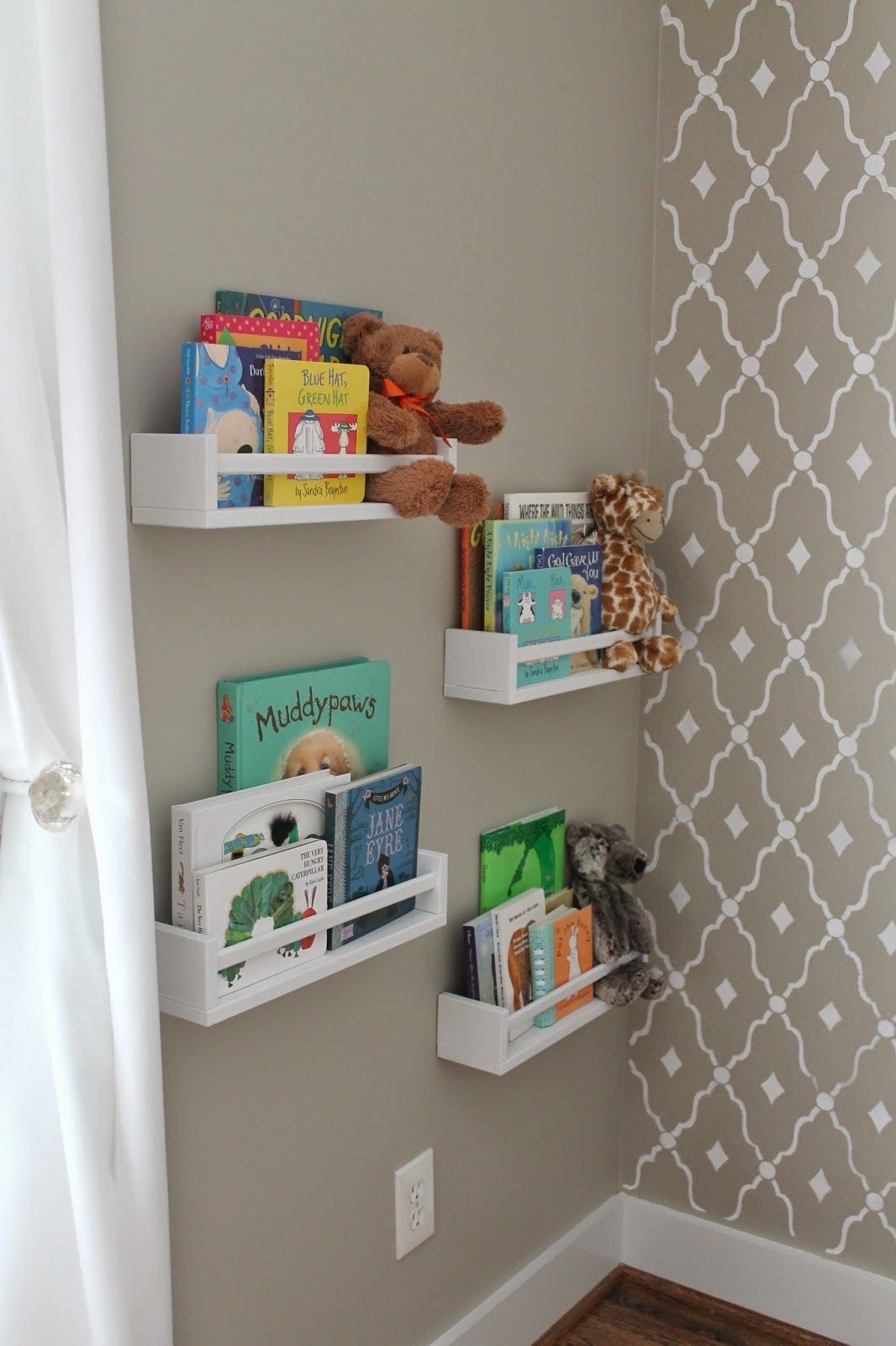 Kids Bedroom Library ikea spice racks painted white for a library!! | nursery