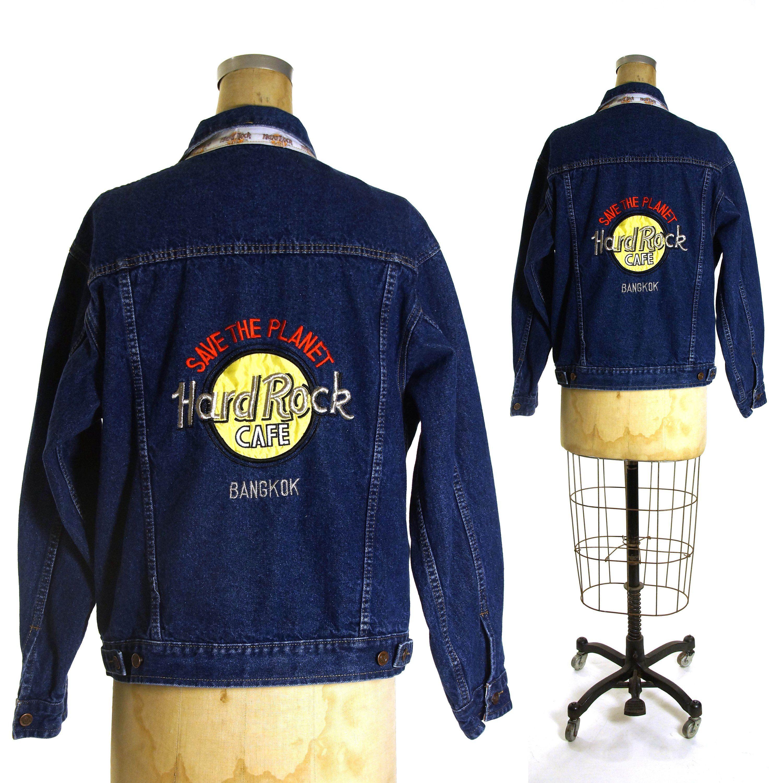 Hard Rock Cafe Denim Jacket Vintage 80s Bangkok Save The World Jacket Unisex Style Size Large 47 Chest Vintage Denim Jacket Denim Jacket Trucker Jacket Style [ 3000 x 3000 Pixel ]