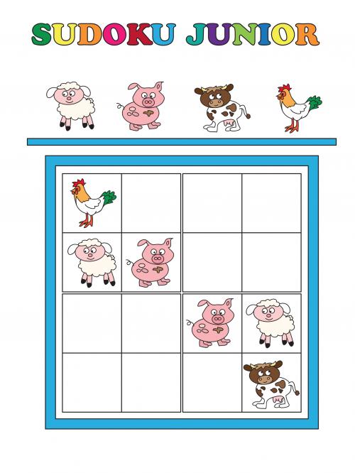 Sudoku Junior - Farm Animals | Vorschule, Arbeitsblätter und Hühner