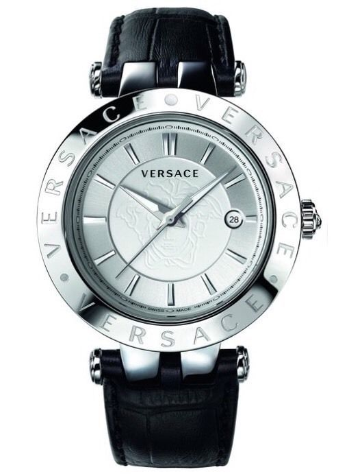 Versace Watch VQP010015 V-Race Black Leather Strap Stainless Steel Men's Watch #Versace #VersaceWatchVQP010015VRaceBlackLeatherStrapStainlessSteelMensWatch