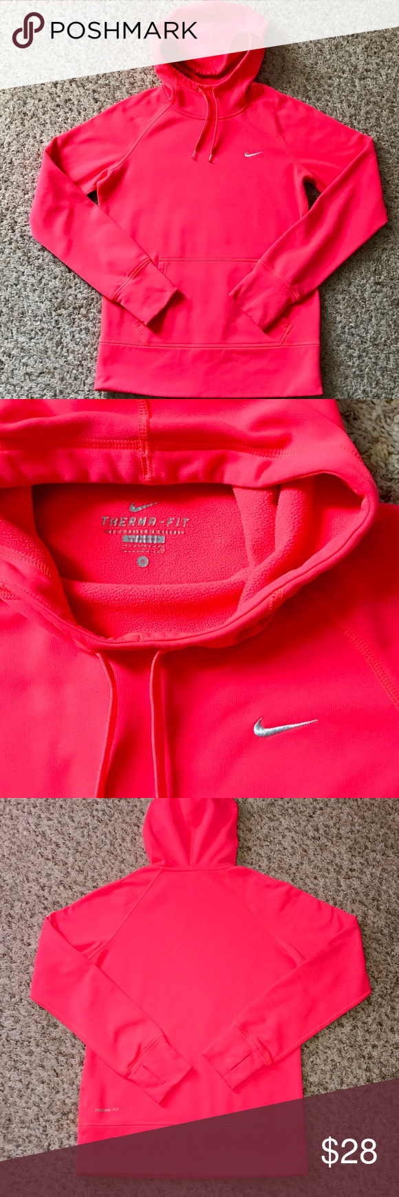 "Nike Therma-Fit All Time Hoodie; size Small Women's size Small.  Gently worn a few times buts looks and feels like new. Taken great care of and laundered correctly. This Hoodie keeps you warm and comfortable with Therma-FIT fabric and Dri-FIT lining in the hood to lock in heat and wick away sweat. It has the ""scuba hood"" with drawstrings to keep the warmth and protection from the elements when you need it. Kangaroo pocket and has the thumb hole details on the wrist cuffs. 100% Polyester…"
