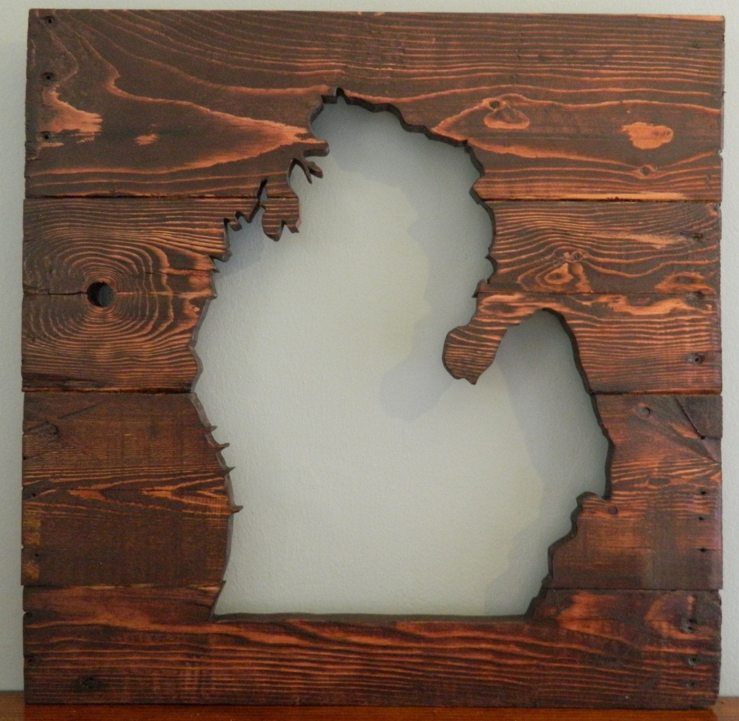 Reclaimed Wood Art Wall Hanging~ Michigan Mitten Cutout SIlhouette~ 20 x  20~ any state possible - Reclaimed Wood Art Wall Hanging~ Michigan Mitten Cutout SIlhouette