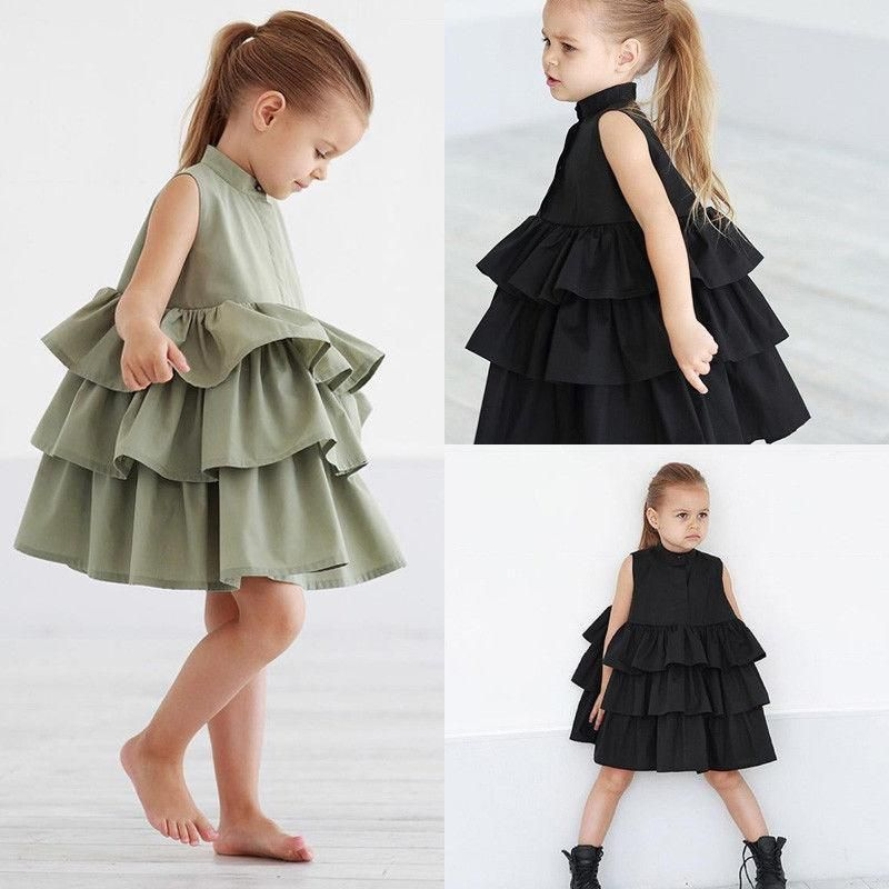 Girls Skater Dress Casual Toddler Dress Tiered Ruffle Baby Girl Dresses #babygirlpartydresses