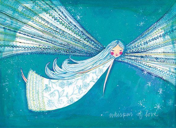 Whispering Angel fine art print - a Sweet William illustration on archival paper.