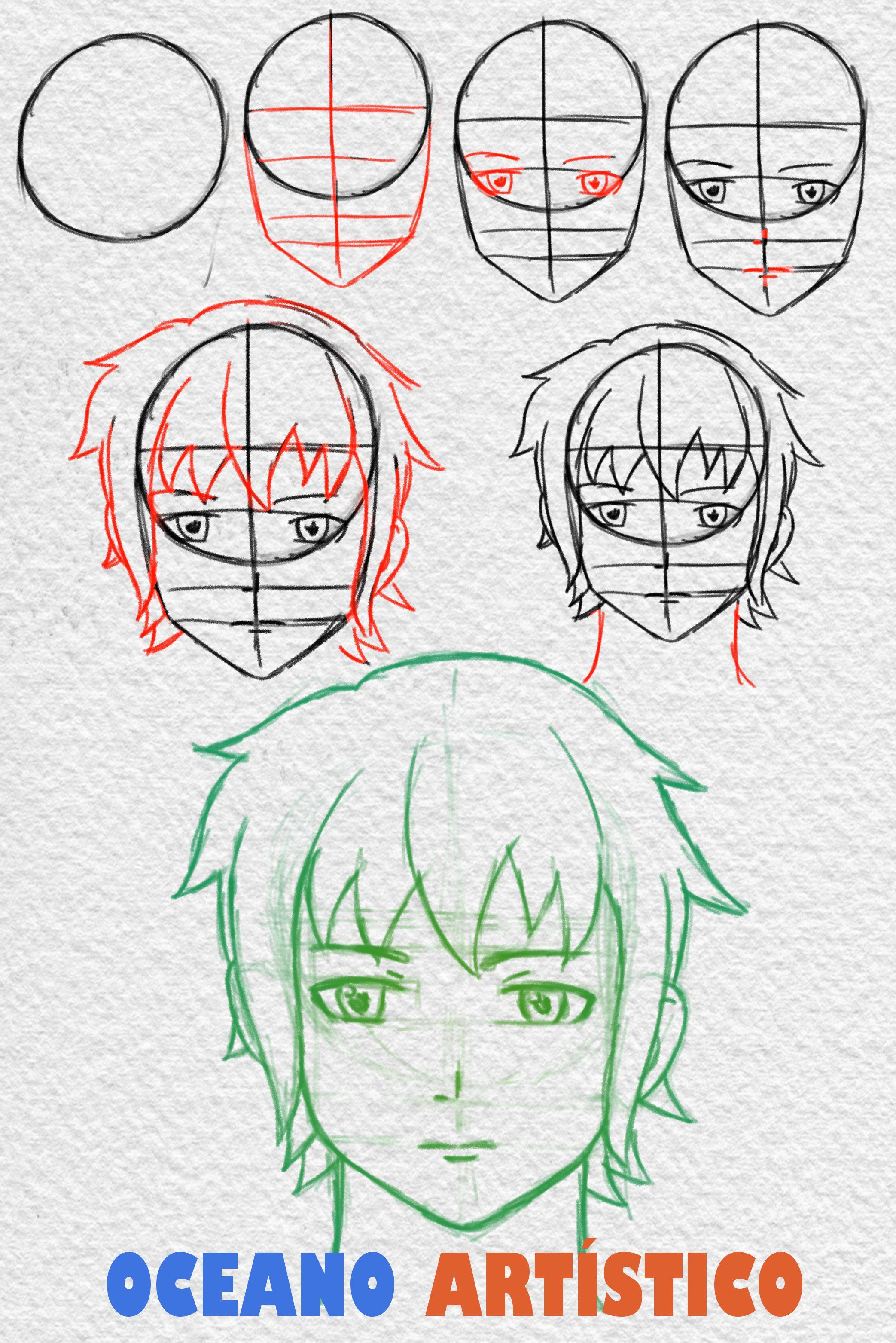 Como Desenhar Rosto De Anime Masculino De Frente Passo A Passo Desenhos De Rostos Desenho De Rosto Tutoriais De Desenho De Rostos