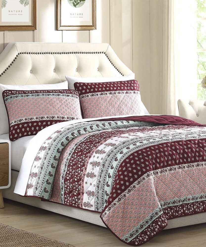 Stupendous Reversible Quilt Set 3Pc Full Queen Coverlet New Cottage Home Interior And Landscaping Staixmapetitesourisinfo
