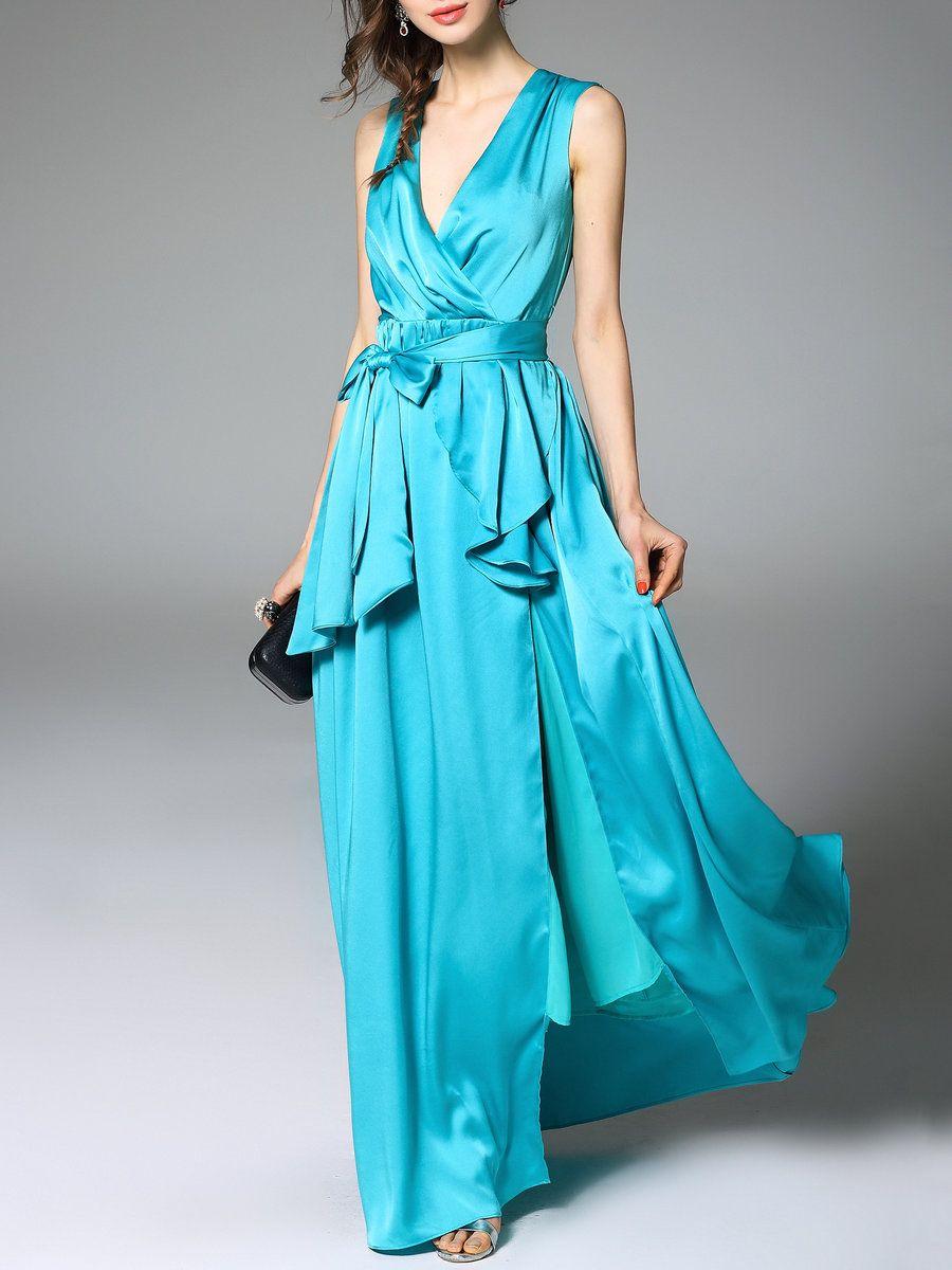 AdoreWe StyleWe Maxi Dresses - TOOTANG Blue Asymmetric Evening A ...