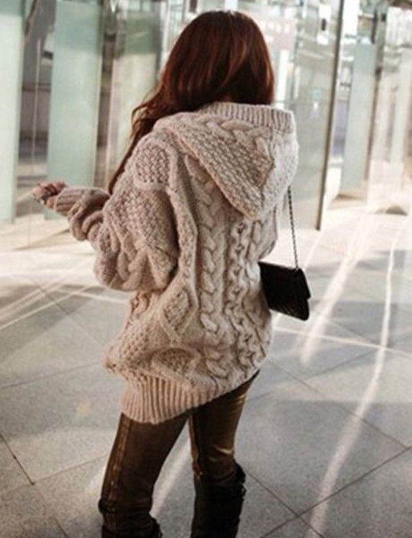 e4786209a75 Cardigan  knitted knitwear beige winter sweater fall outfits ...