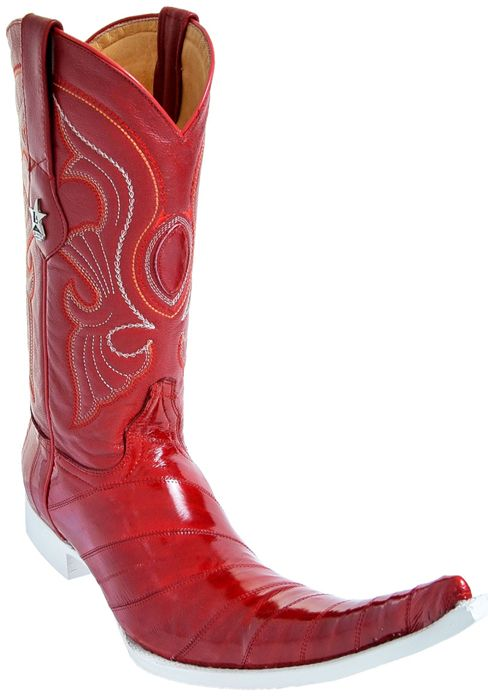 0501a3a727f Los Altos Red Genuine Eel 9X Pointed Toe Cowboy Boots 97B0812 ...