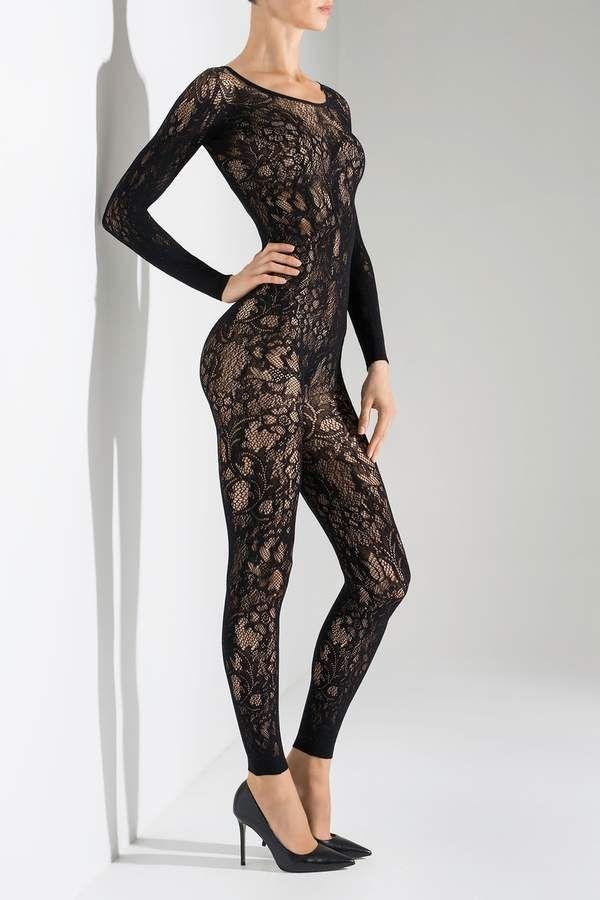f8340965a78 Natori Floral Romance Long Sleeve Catsuit Lace Bodysuit Long Sleeve
