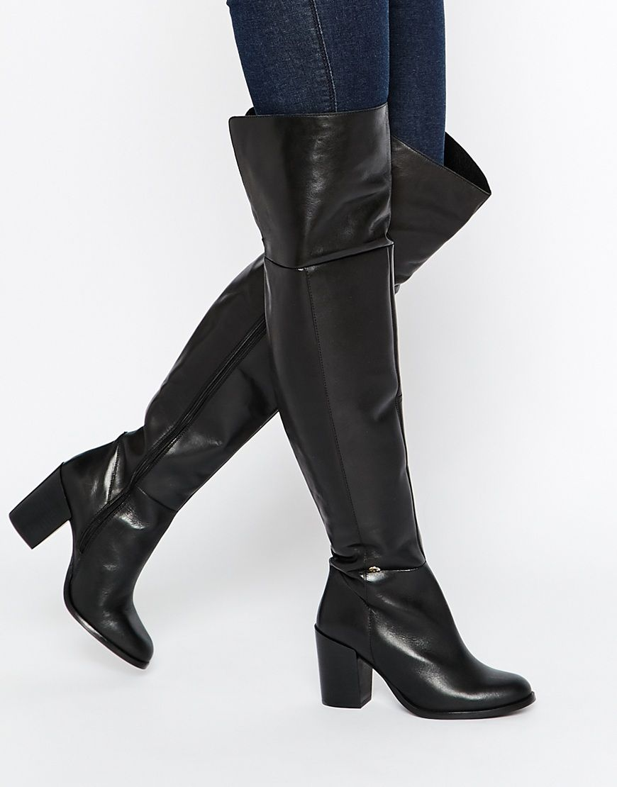 Buy Women Shoes / Kg By Kurt Geiger Valencia Black Leather Over The Knee Boots