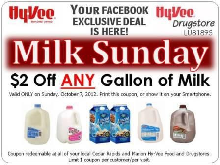 Saving 4 A Sunny Day: $2 Off ANy Gallon Of Milk At Hy Vee