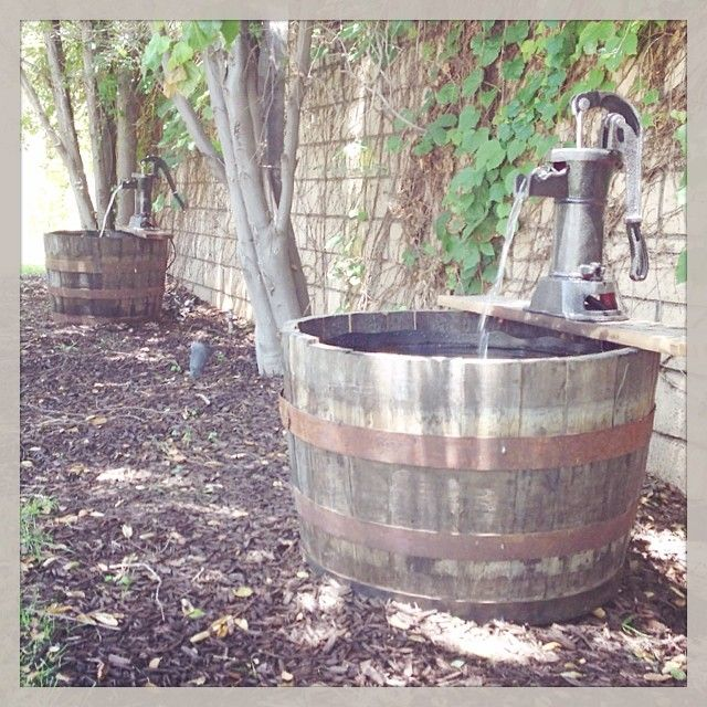 Diy Fountains Made Out Of Whiskey Barrels And Hand Pumps Barrel Fountain Whiskey Barrel Fountain Wine Barrel Water Feature