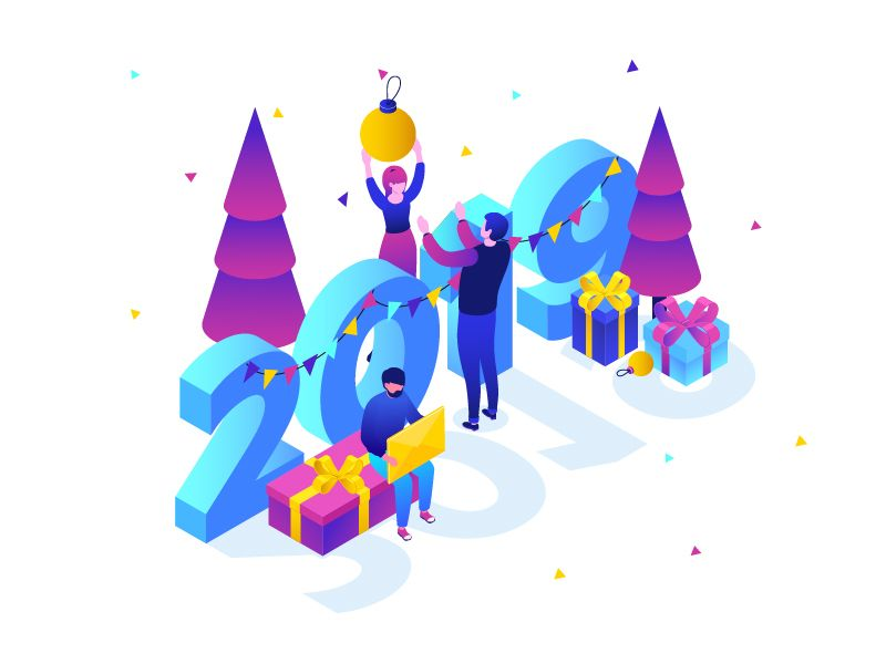 Happy new year business winter holidays isometric design vector style flat illustration also visual typography pinterest ui rh