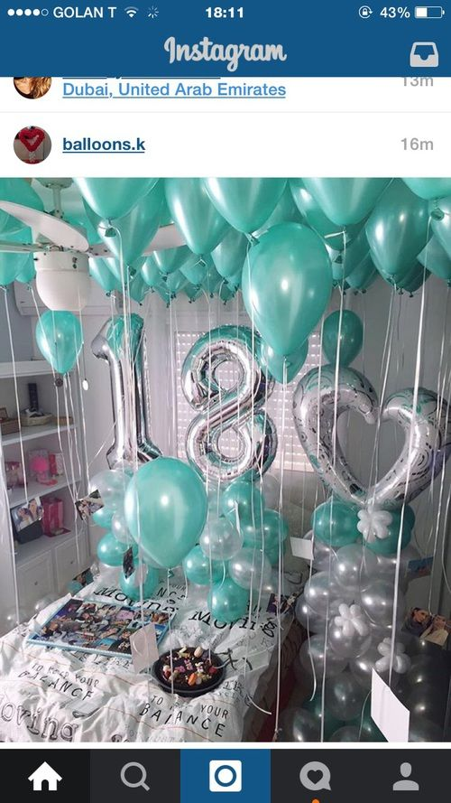 Teal silver birthday decor 18 year old birthday party ideas