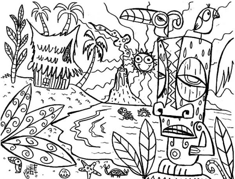 The mythical Hawaiian tiki mask coloring page Fun Coloring Pages