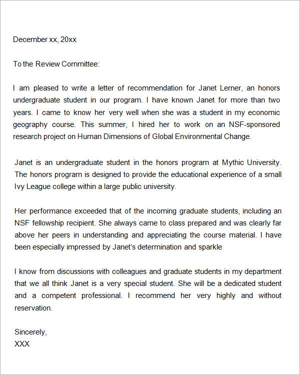 sample letter of recommendation for graduate school letters