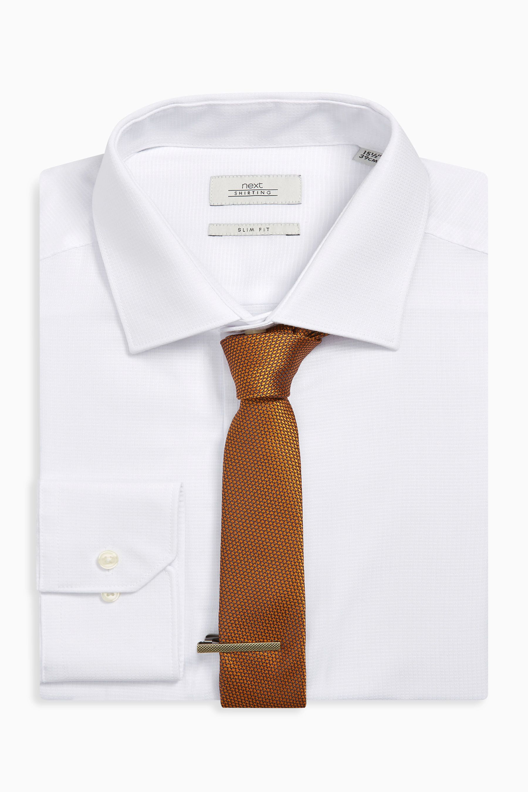 38846cda0100 Mens Next White Slim Fit Shirt With Rust Tie And Tie Clip Set - White