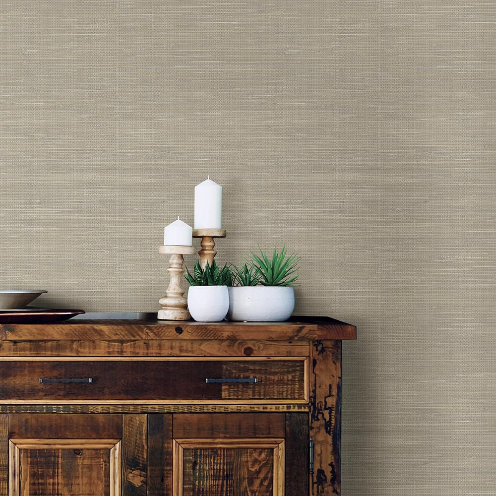 NuWallpaper 30.75 Sq. Ft. Wheat Grasscloth Peel And Stick