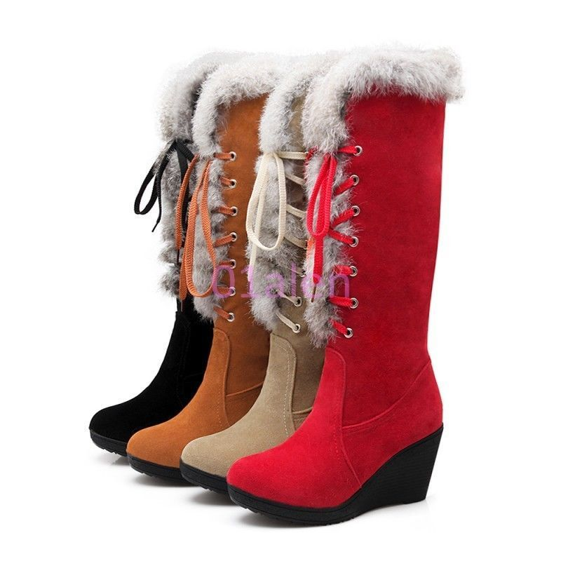 Fashion Womens Girls Faux Suede Low Heel Shoes Knee High Riding Boots US 4-8