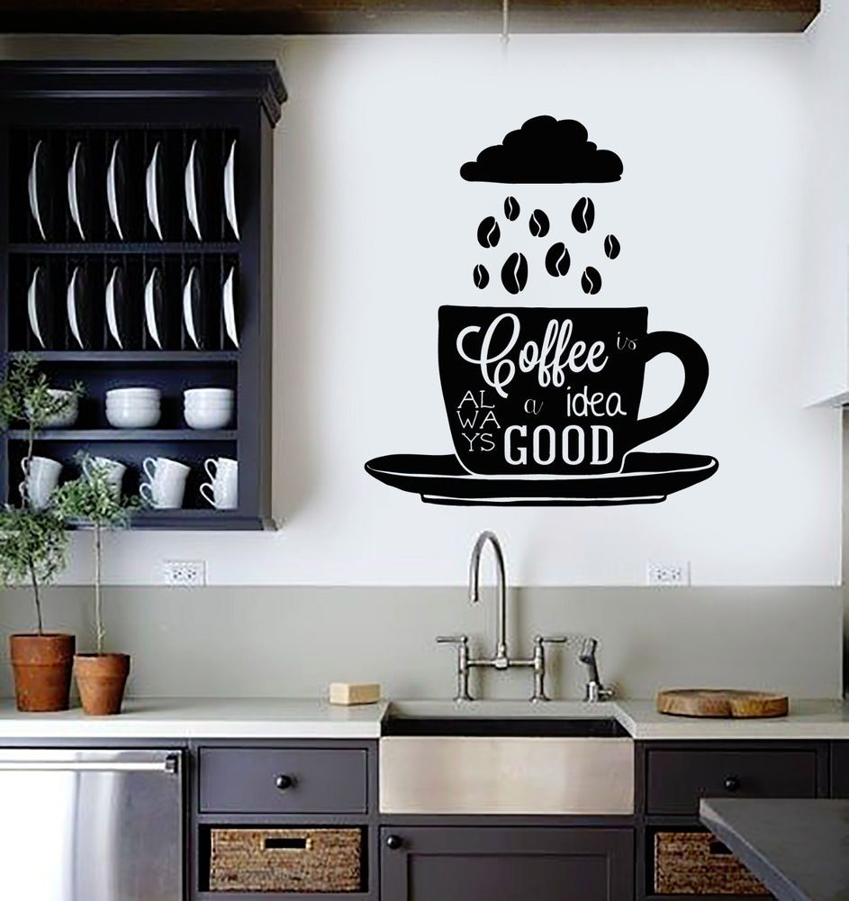 Vinyl Wall Decal Coffee Quote Shop Cup Beans Kitchen Stickers Mural Ig4478 Cafe Wall Vinyl Wall Decals Kitchen Wall Decals