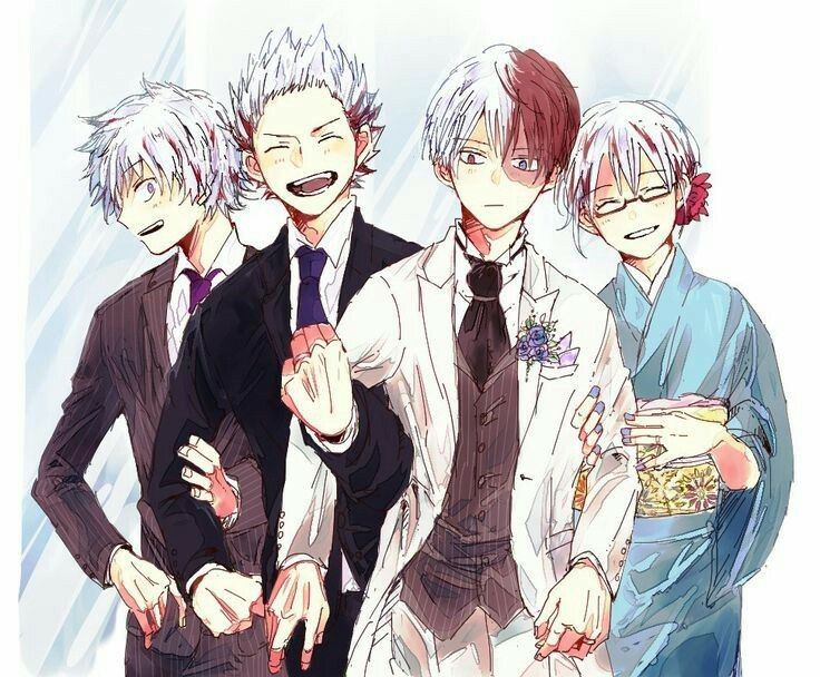 Todoroki Family Shouto Siblings Laughing Suits Kimono