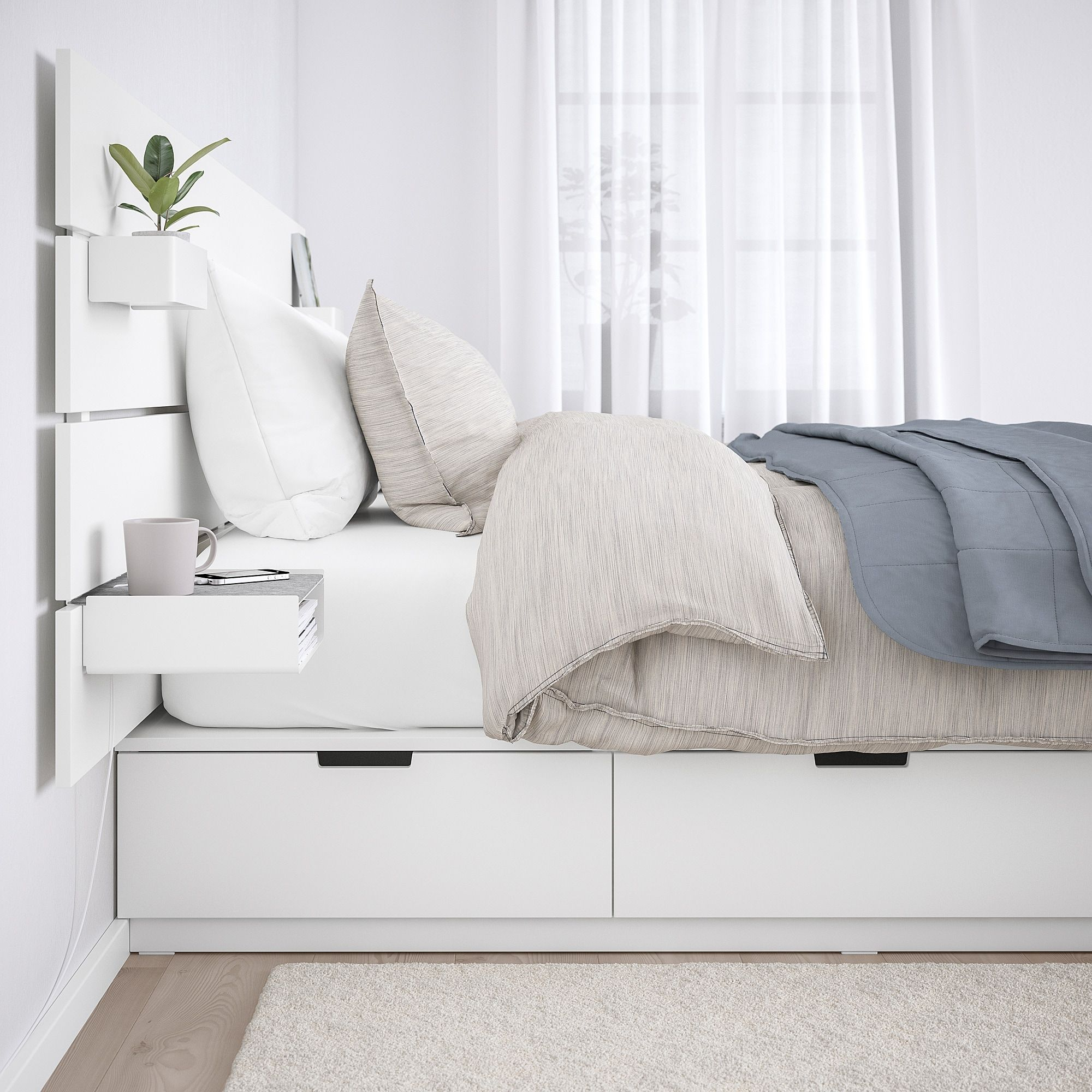 Ikea Nordli Bed With Headboard And Storage White In 2020 Headboards For Beds Bed Frame With Storage White Headboard