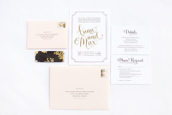 Elegant Gold Foil Wedding Invitations via @Oh So Beautiful Paper: http://ohsobeautifulpaper.com/2013/11/anna-maxs-elegant-gold-foil-wedding-invitations/ | Invitation Design: @Lindsay Dillon Zogas | Calligraphy: Angelique Ink | Photo: Paul Rich Studio #calligraphy #goldfoil #wedding