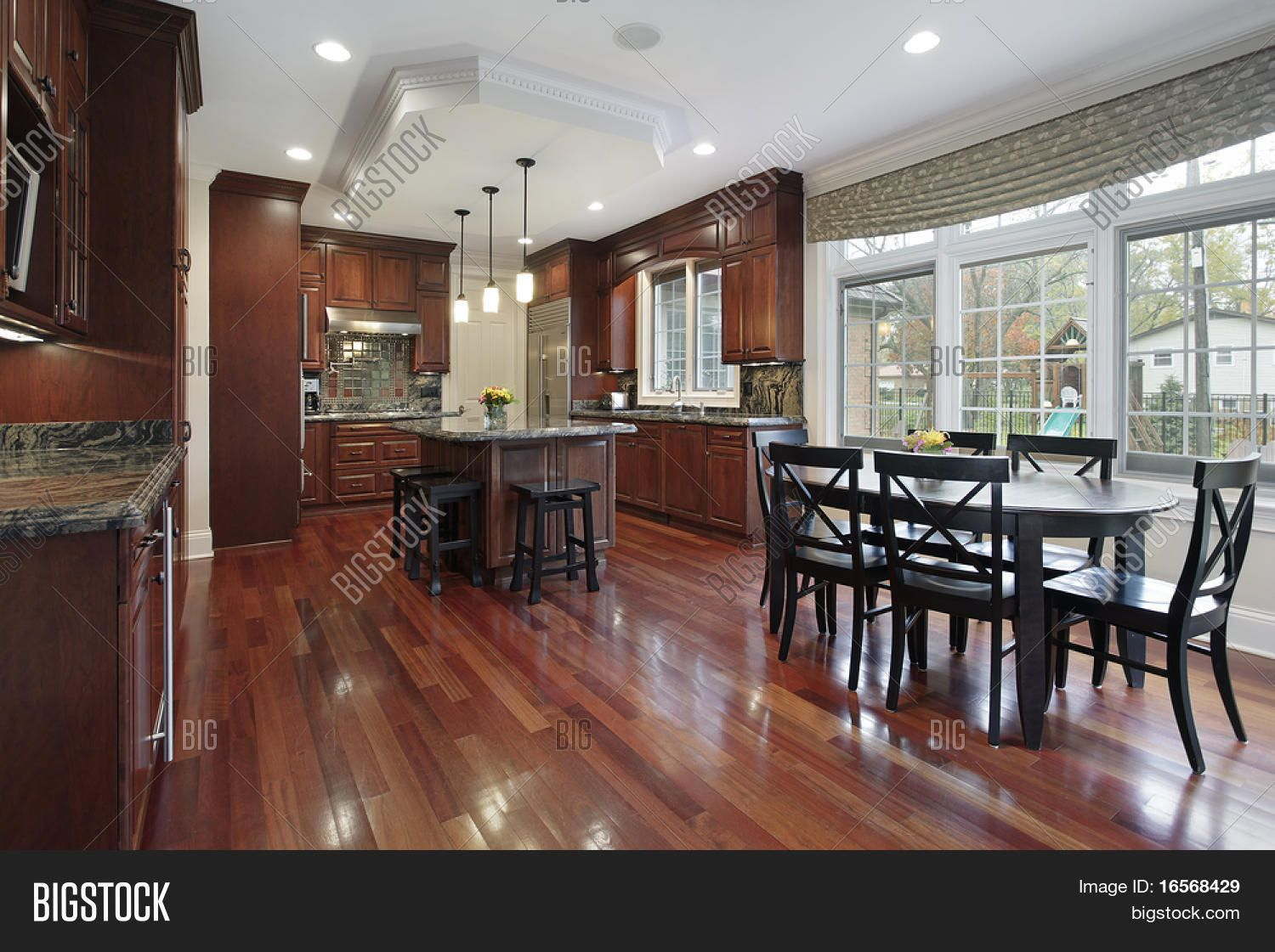 Luxury Kitchens With Cherry Cabinets And Wood Floors Kitchen In Luxury Home With Cherry W Hardwood Floors In Kitchen Luxury Kitchen Design Dark Wood Kitchens