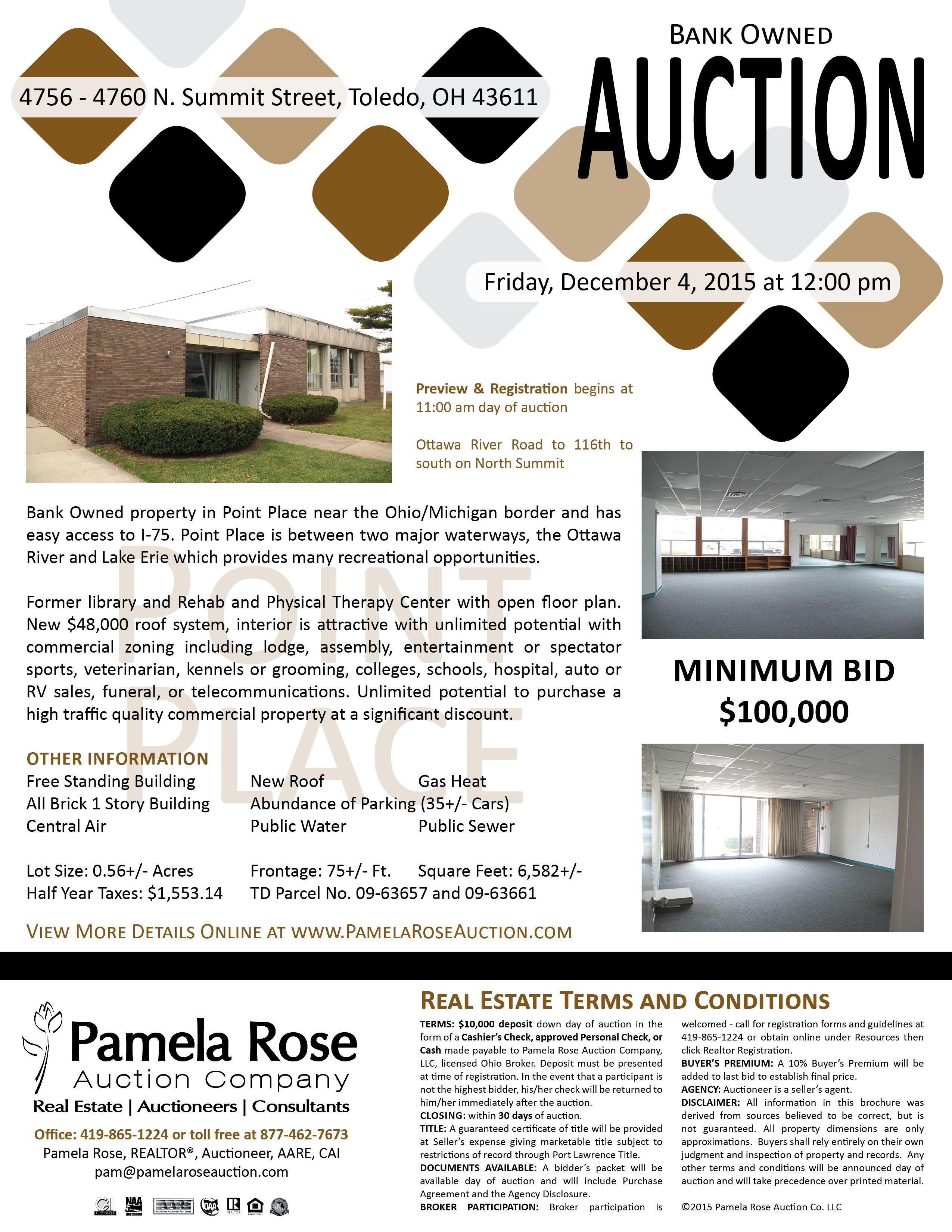 Bank owned auction minimum bid 100000 at 47564760 n