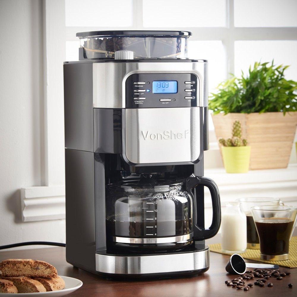 Digital Filter Coffee Maker Built In Grinder Premium Disposable