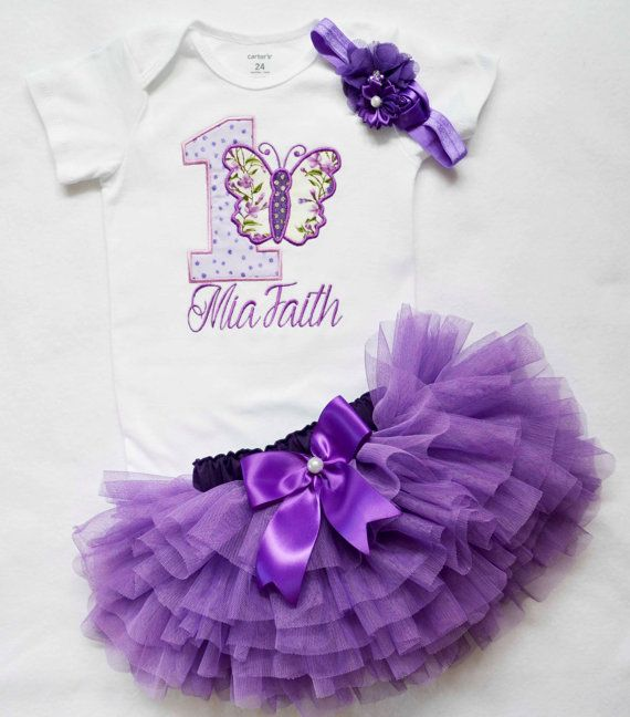 First Birthday Outfit Girl Baby Girl 1st Birthday Outfit Purple Butterfly Cake Smash Outfit Personalized Birthday Dress