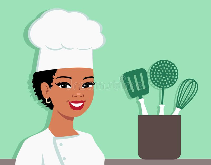 Kitchen Chef Cartoon Baker Illustration Of Woman Illustration About Black Baker Food Cake Iconic Cook Bus Cartoon Illustration Cartoon Chef Illustration