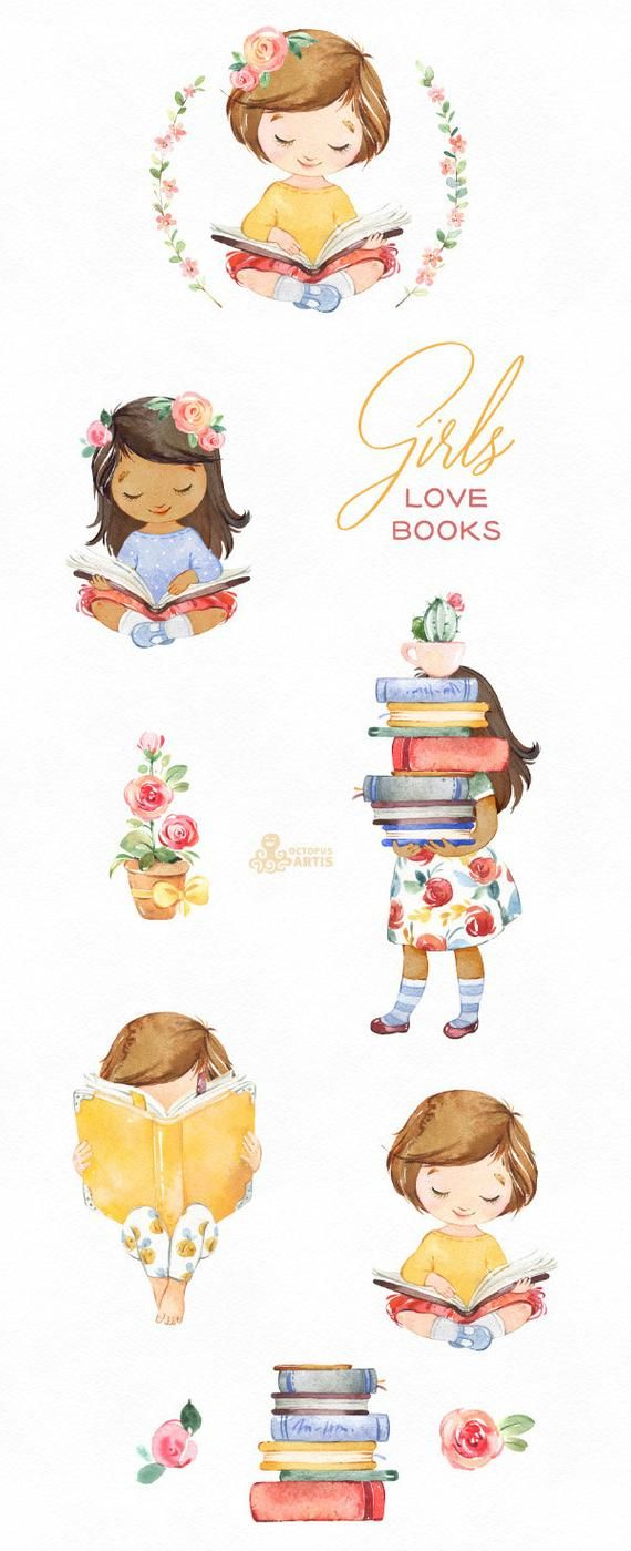 Girls Love Books Watercolor clipart, reading, flowers ... (570 x 1399 Pixel)