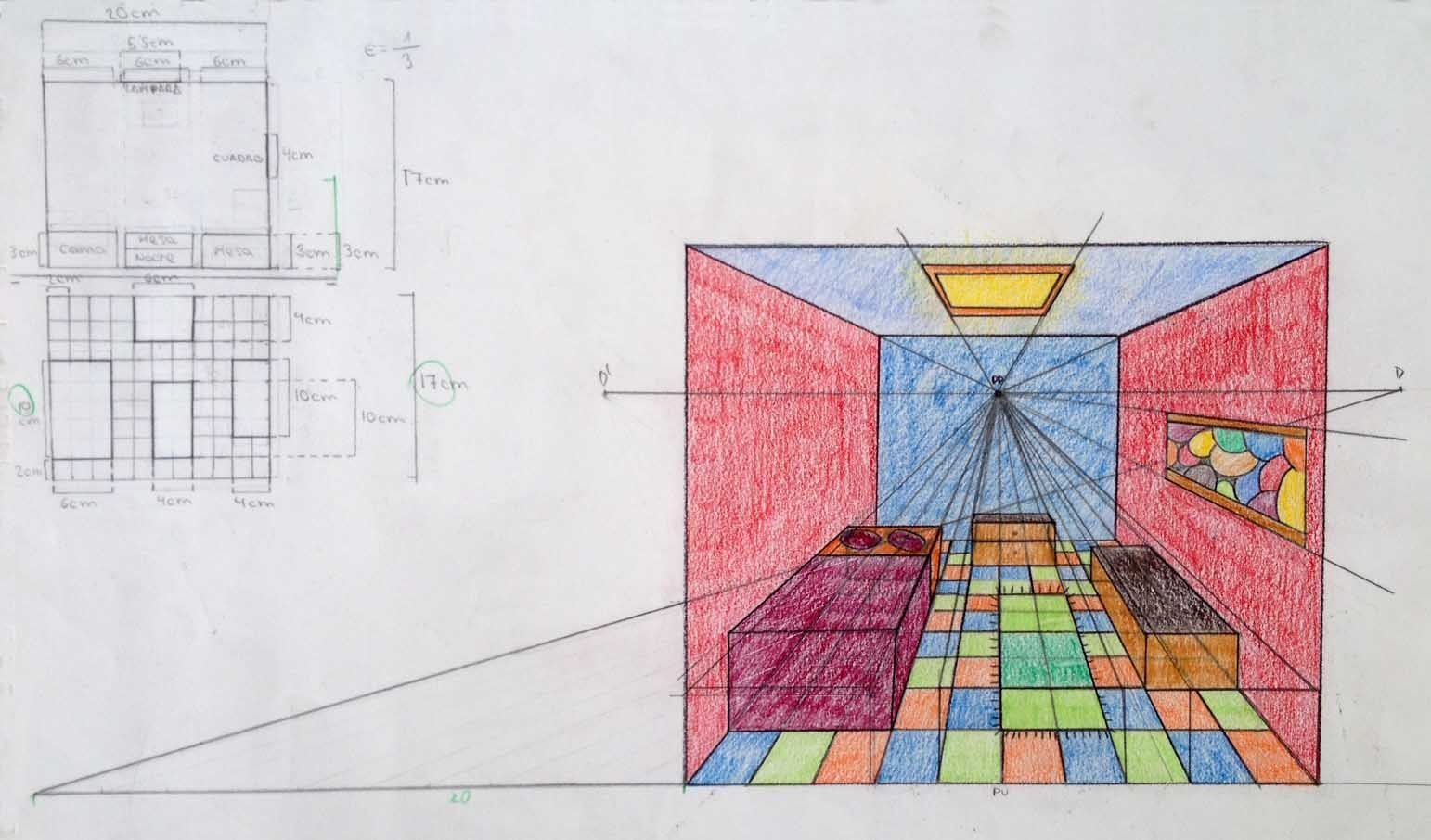 Habitacion En Perspectiva Conica Frontal
