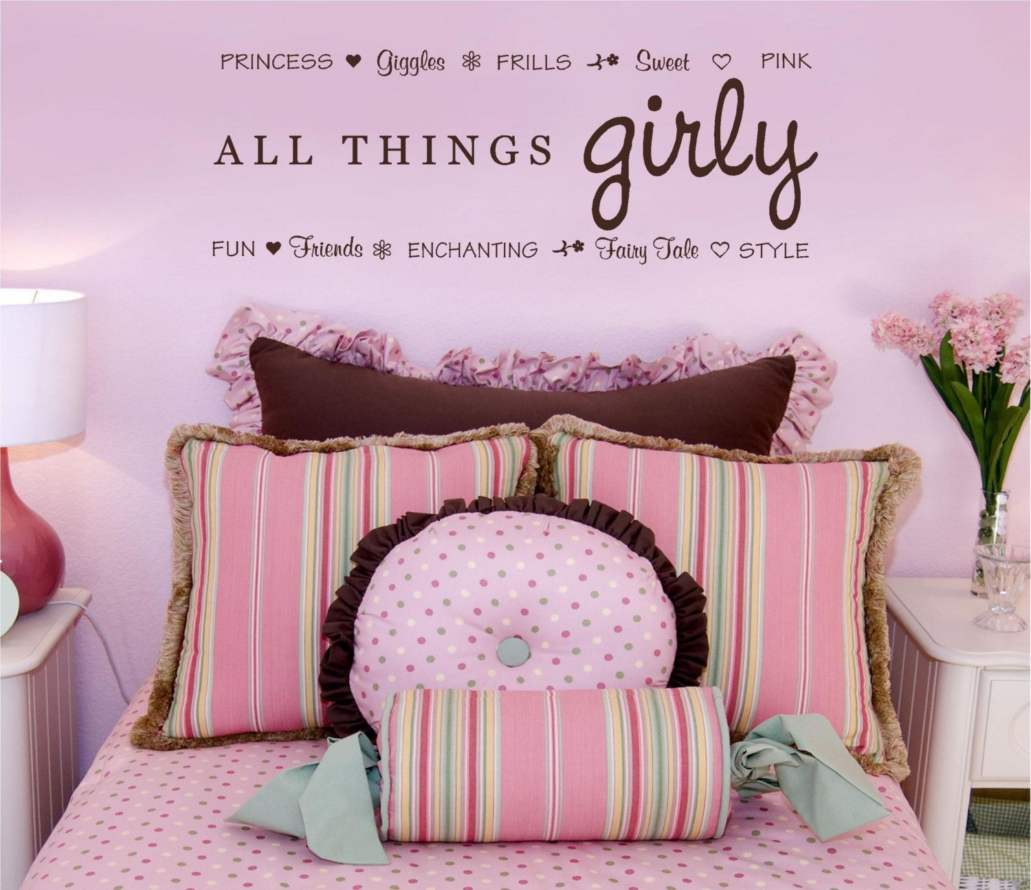 Girly Pink Nursery Decor: 36x13 All Things Girly Princess Giggles Pink Fairy Tale