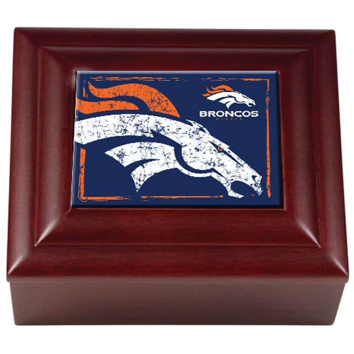 detailed look c107f e33b4 Denver Broncos NFL Wood Keepsake Jewelry Box with Team Color ...