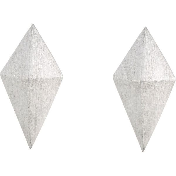 Deborah Pagani Kite-Shaped Pyramid Stud Earrings (£450) ❤ liked on Polyvore featuring jewelry, earrings, colorless, 18 karat gold earrings, clear crystal jewelry, 18 karat gold jewelry, deborah pagani jewelry and black jewelry
