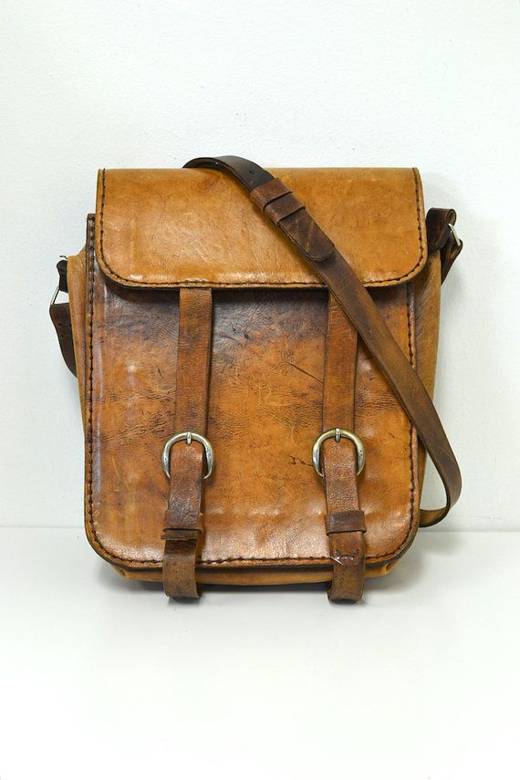 Vintage Leather MXS  60s Messenger / Book / Mail Bag by REBOOTVINTAGE