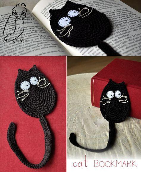 Lesezeichen Katze Schwarz Und Rund Häkeln Lesezeichen