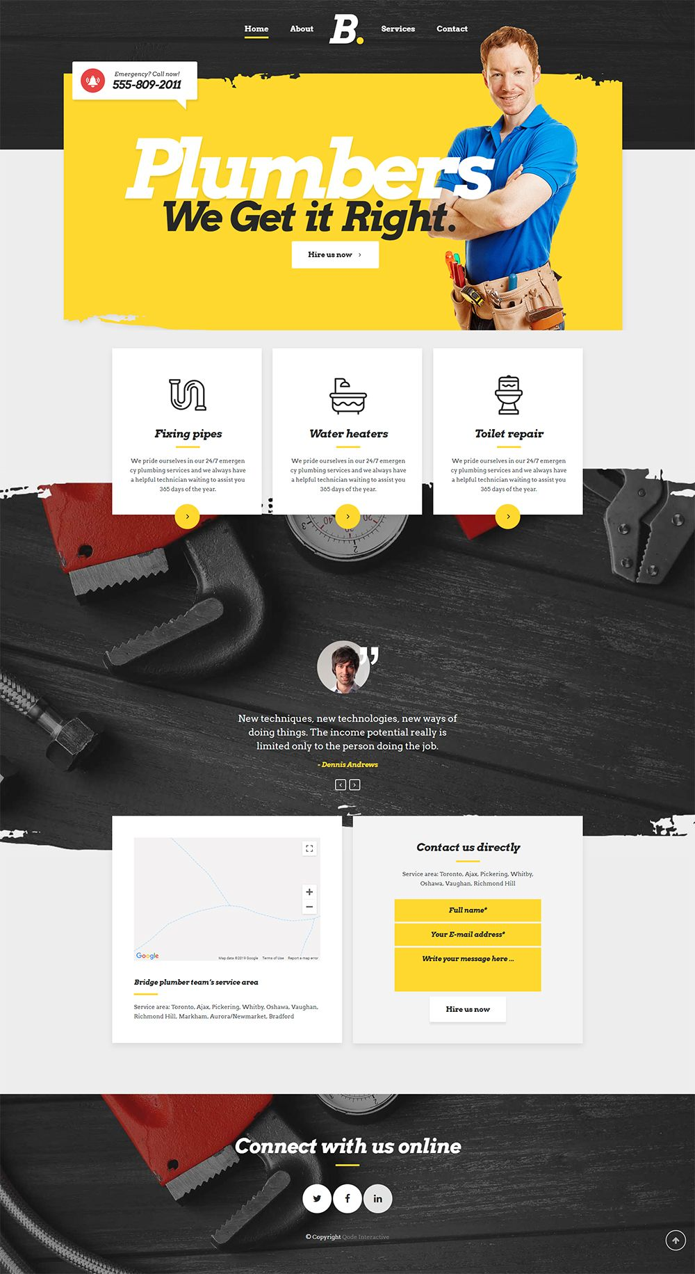 Bridge Wordpress Theme Plumber Demo Wordpress Website Design Website Design Layout Website Design Services