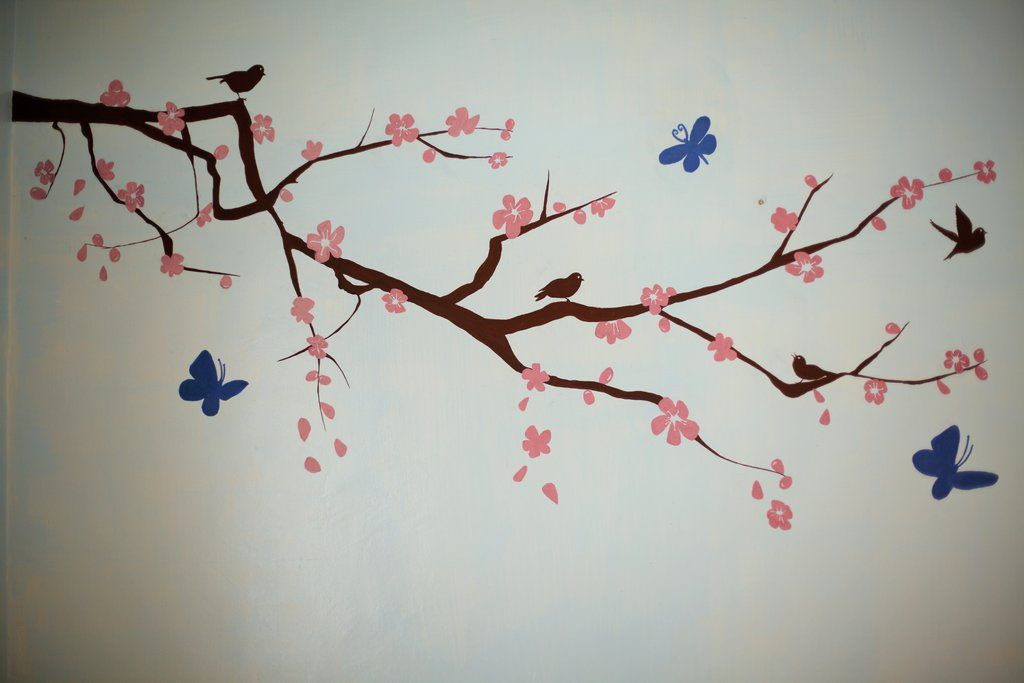 Cherry Blossom Wall Painting By Ashyana182 Cherry Blossom Painting Wall Painting Spray Paint Wall